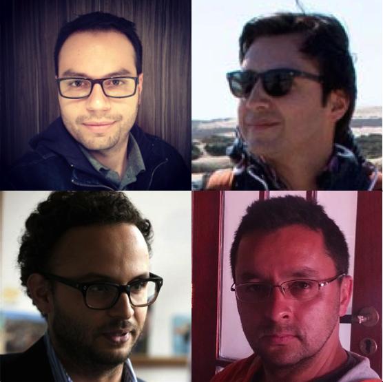 Con las manecillas del reloj desde Andrés Burbano, el de las gafas: Offray Luna de mutabiT, Sebastián Pérez de Aentrópico y Carlos Andrés Pérez.